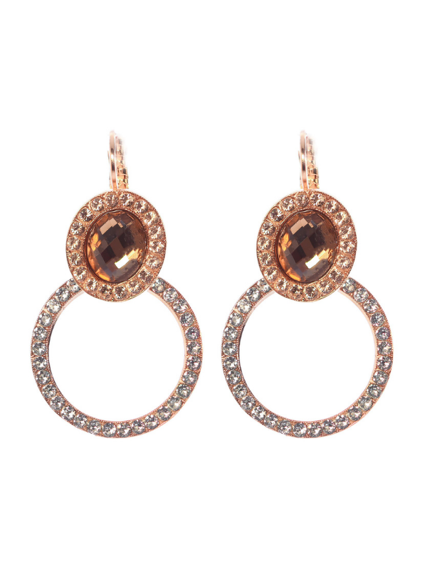 Mariana captivates with its use of white faux pearls combined with ice blue, pale peach, amber , smokey grey and earthy rust tones. These earrings are delightfully set with an oval faceted cut earthy coloured crystal and a silhouette circle attached underneath encrusted with ice blue crystals.