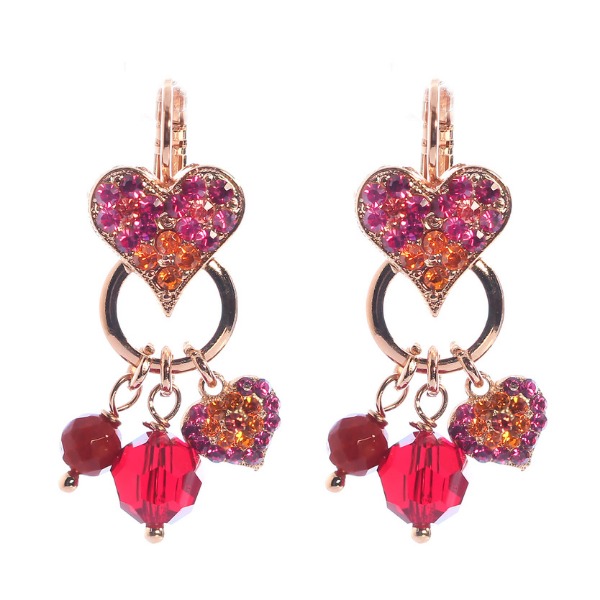 Mariana has featured fuchsia pink, ripe mango and fire engine red Swarovski crystals in this vibrant collection, named Sorbet Delight. These earrings are set with a heart and dangles handing off a circle link.