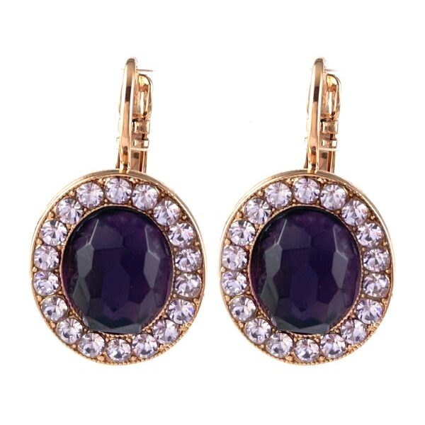 Oval shaped earrings with faceted-cut , deep purple centrepiece enhanced with mauve crystals surrounding it. Metal is rose gold plated, French hook setting.