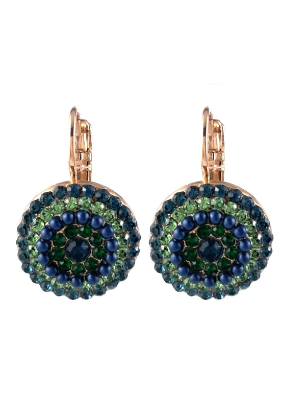 Forming a circular pattern from the use of five rows of embellishments, Mariana combines stormy blue and crisp green crystals co-ordinated with navy faux seed pearls. Set on a French hook with Rose Gold plating.