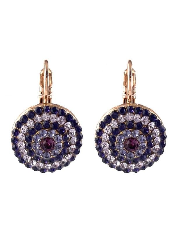 Forming a circular pattern from the use of five rows of embellishments, Mariana combines contrasting pale and dark purple crystals. Set on a French hook with Rose Gold plating.