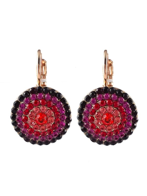 Forming a circular pattern from the use of five rows of embellishments, Mariana combines contrasting red and pink crystals. Set on a French hook with Rose Gold plating.