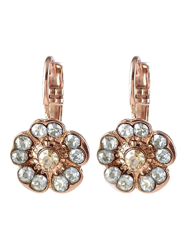 These earrings are a sweet setting with a metal flower shape encrusted with clear crystals on each petal and a champagne coloured crystal in the centre. Set on a French hook with Rose Gold plating and made in Israel.
