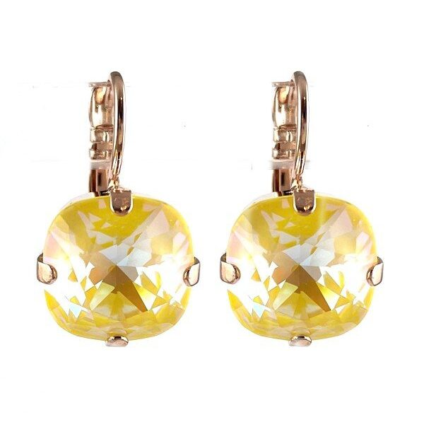Earrings designed as a simple yet classical setting featuring a citrus yellow square cut crystal. French hooks and rose gold plated metal.