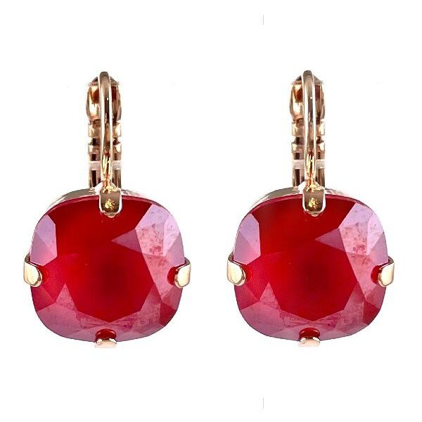 Earrings designed as a simple yet classical setting featuring a crimson square cut crystal. French hooks and rose gold plated metal.