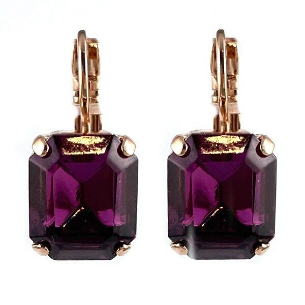 An all time favourite setting from Mariana. Rectangular deep violet crystal set with French hooks and rose gold plated metal.