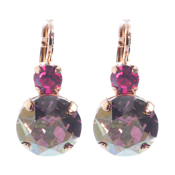 Stunning earrings with large faceted cut mid-purple crystal with a fuchsia smaller crystal on top. French hook, rose gold.