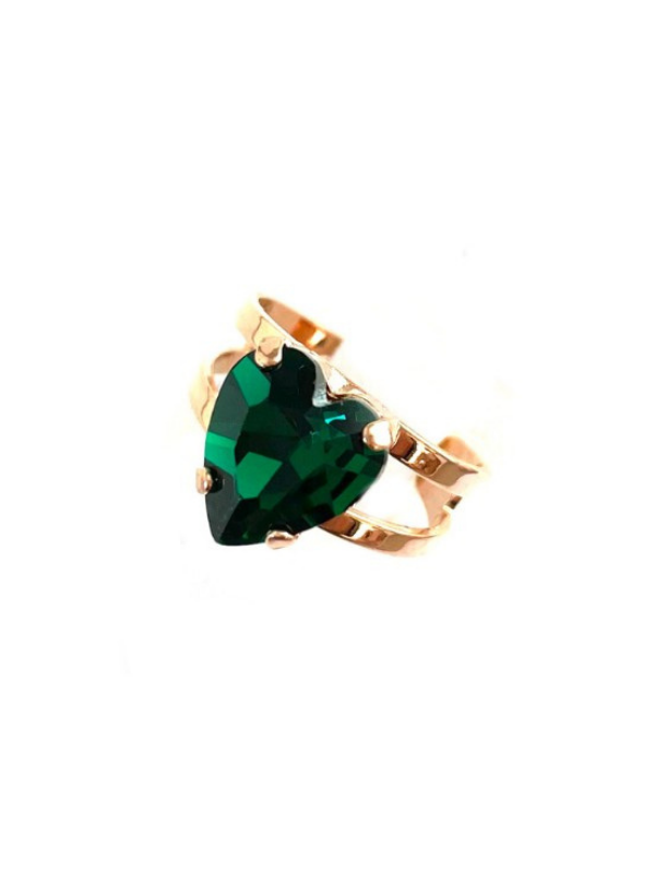 A quaint, medium size ring from Mariana. Designed with a heart shaped crystal, emerald green in colour. Adjustable band using rose gold plated metal.