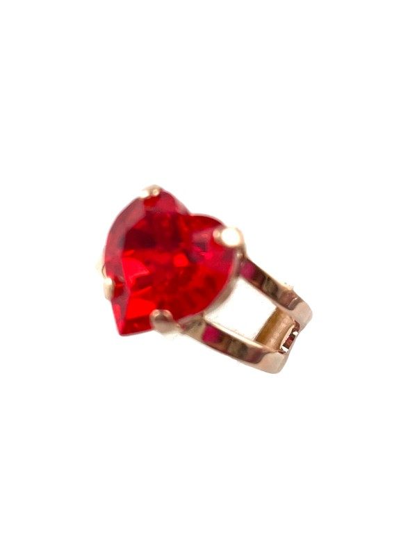 A quaint, medium size ring from Mariana. Designed with a heart shaped crystal, ruby red in colour. Adjustable band using rose gold plated metal.