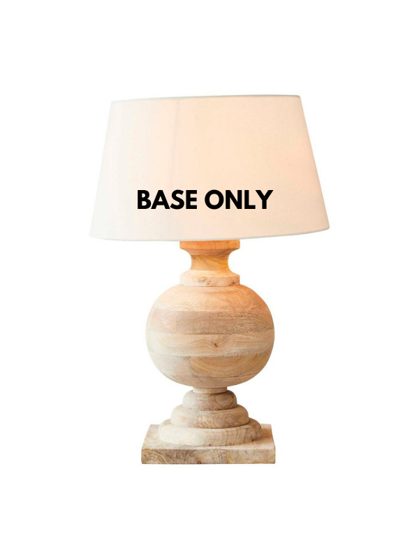 A lamp base for the ages. An everlasting decor item in timber that can be matched with a lamp shade to suit your decor.