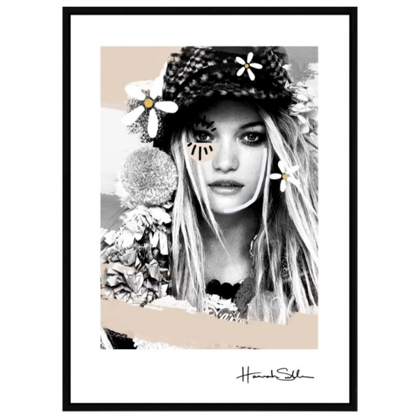 A trendy mono-tone print in black and white features a young wearing a hat with flowers. Print measures 160 x 120cm, black frame with perspex glass.