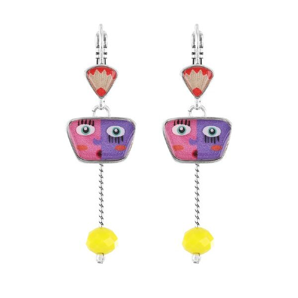 Quirky and comical: Geography History collection from French designer, Taratata Bijoux. These leverback earrings feature pencil shaving motif, a pink and purple face motif and yellow glass bead dangle. Silver coloured metal measuring 4.5cm.