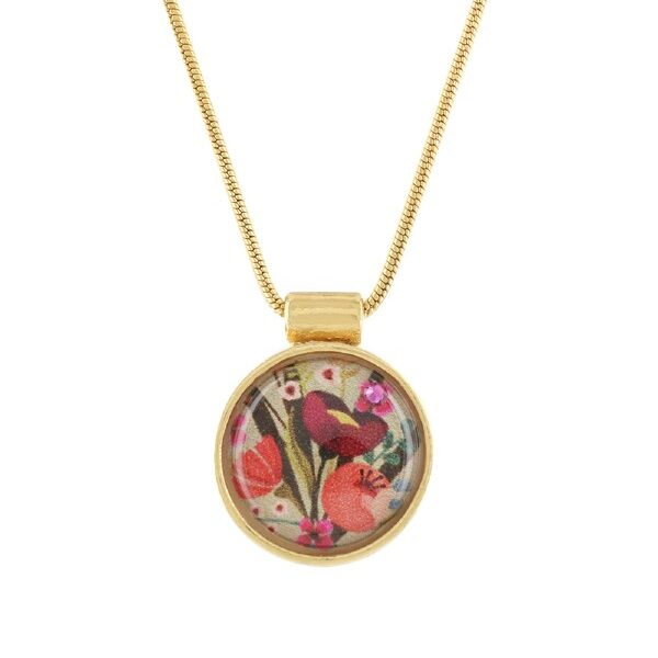 Atelier is a genteel design from Taratata Bijoux. Artwork pattern is a delightful collage of tangerine flowers and burgundy poppies with olive green foliage. Gold coloured metal.