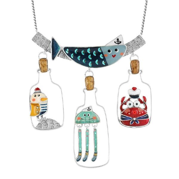 Hoist High is a comic seaside jewellery collection from French designer, Taratata Bijoux. Multi-coloured and quirky, the characters consist of sailor jelly-fish and fish, seagull and crab with googly eyes.
