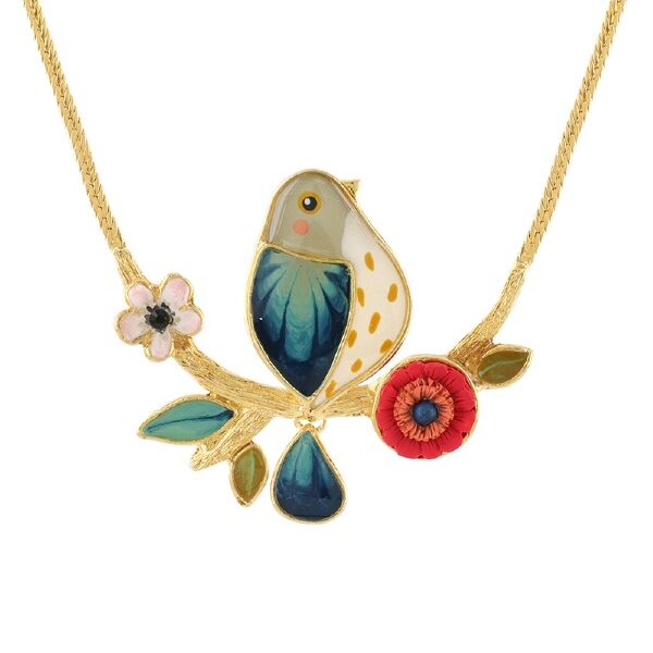 A little bird, with a cap of grey feathers and blue wing alights a red and white blossomed, golden twig. A sweet range from Taratata's Ritournelle Collection.