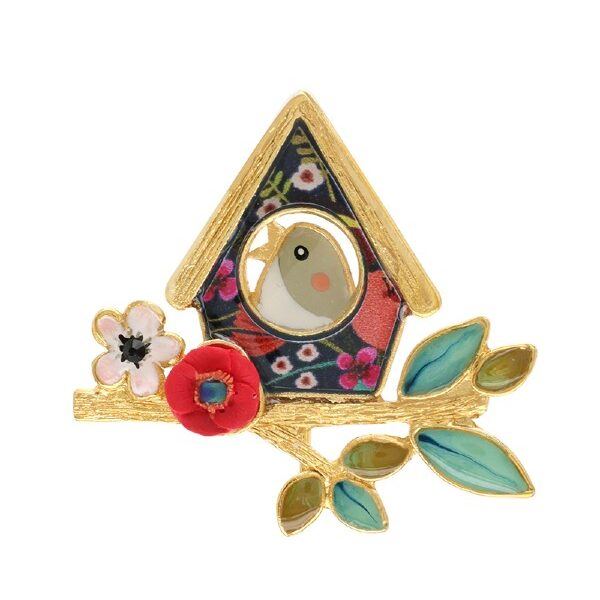 A little bird, with a cap of grey feathers and blue wing, sings in his birdhouse, lights a red and white blossomed, golden twig. A sweet range from Taratata's Ritournelle Collection.