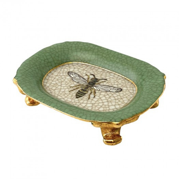A new design from Creatively Active Minds featuring a savon dish on gold antique-style legs. Verde green crackle glaze rims a bee design centrepiece. Great bathroom accessory.