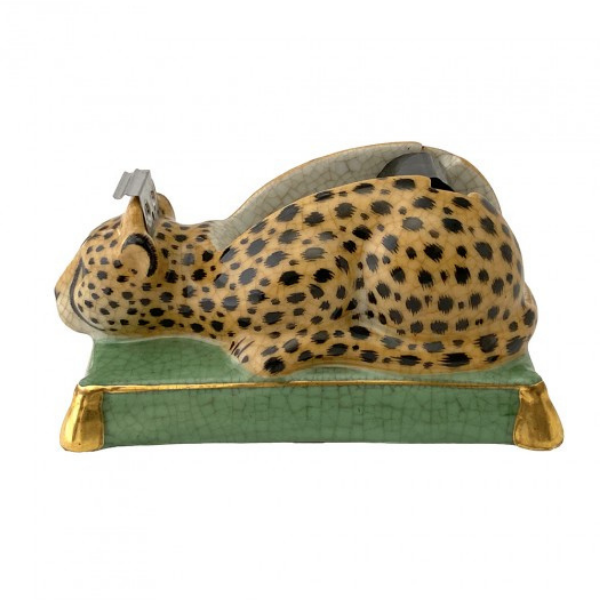 A unique tape dispenser that is a decorative, yet useful office decor item. Classic crouching jaguar on a verde green base.