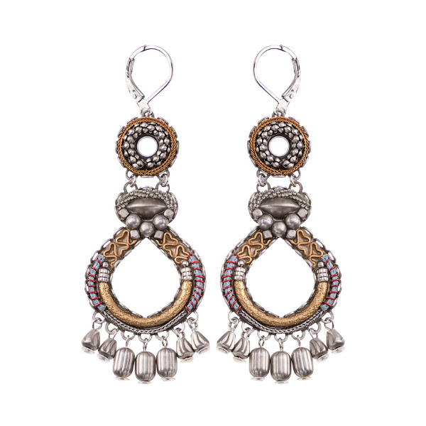 The Indigo, Metal Roots Collection from Ayala Bar's Winter 2021 Jewellery release includes a silver finish metal collection. The settings are bohemian in style, features the silver metal with co-ordinated earthy coloured textile cord as a highlight. Ornate beading.