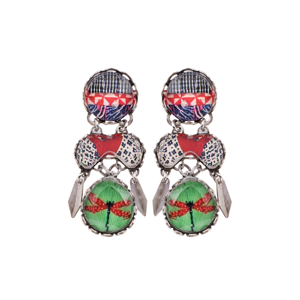 Colourful Kaleidoscope forms part of Ayala Bar's Radiance Jewellery Collection from her Winter 2021 Range. A delicate dragonfly print on a green background is a featured theme and has been co-ordinated with crimson red and cobalt blue to make this a stunning, outstanding collection.