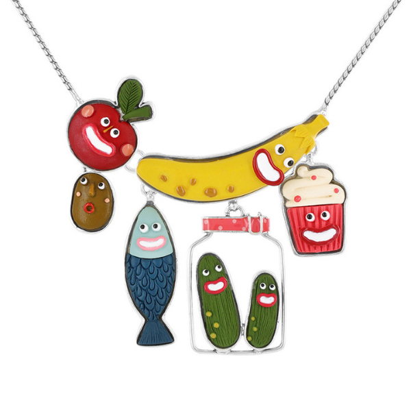 A tremendously comical jewellery collection from Taratata Bijoux. Named Glouton which translates to Glutton, this jewellery comprises animated fish, banana, tomato, cupcakes and gherkin designs using multi-coloured resins set in silver coloured metal.
