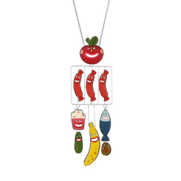 A tremendously comical jewellery collection from Taratata Bijoux. Named Glouton which translates to Glutton, this jewellery comprises animated fish, sausage, banana, cherry, cupcakes and gherkin designs using multi-coloured resins set in silver coloured metal.