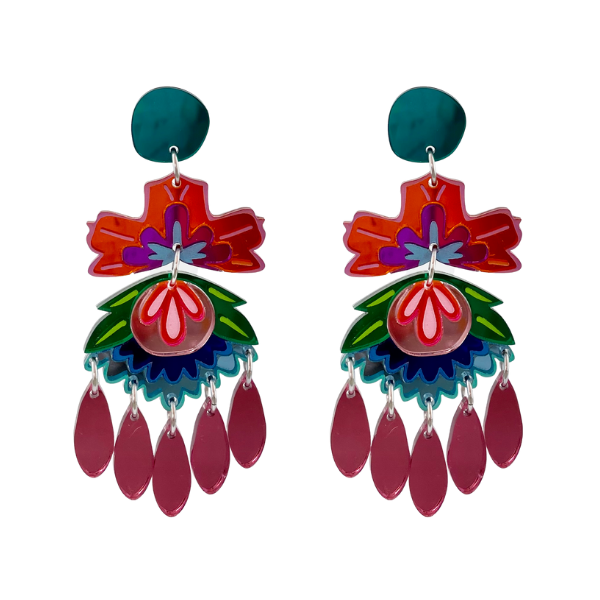 Multi-coloured statement earrings with a floral design in its patterns. pink dangles complement the 10cm drop. Lightweight perspex on stud. Made in Australia