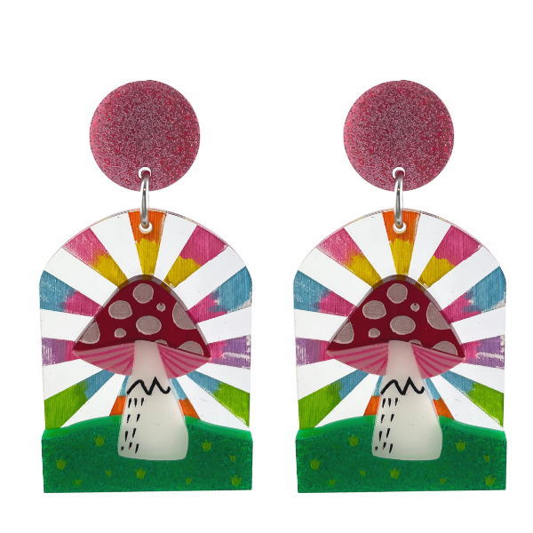 Absolutely magical design using a colourful background and 3D red/white spot mushroom. Delightful, colourful and happy.