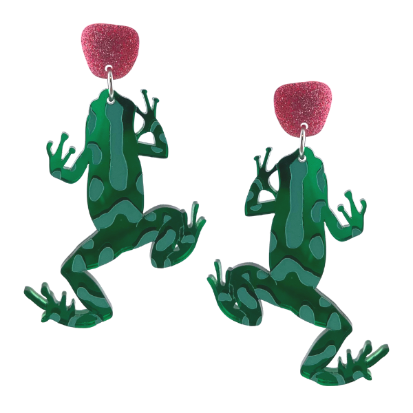Cute green Dart Frog Earrings with splendid markings. A contrasting glitter pink dot on top has been set with a stud fastening. Made from lightweight perspex and handmade in Australia.