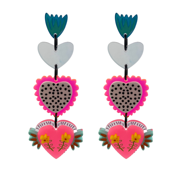 A striking earring setting featuring three hearts - one plain silver, one fluro pink with a black and white spot background, and the pink heart with tiny yellow flowers and aqua wings. These statement earrings have been handmade in Australia and measure 9cm.