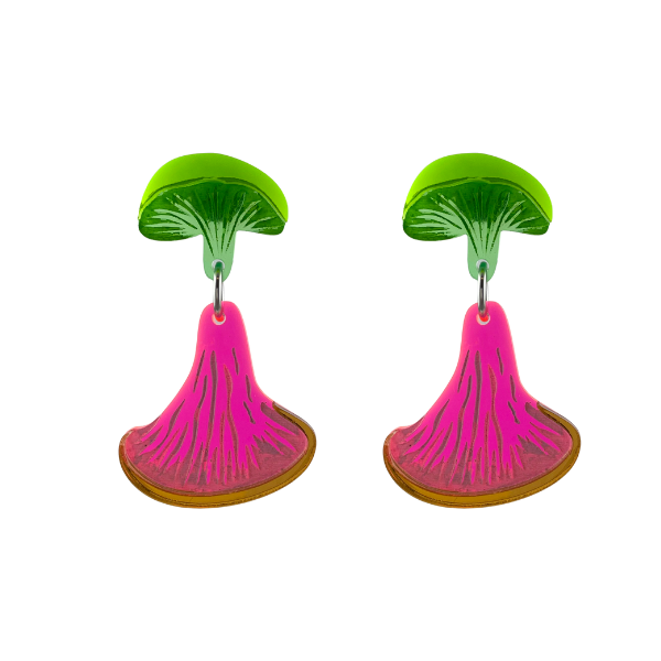 Fungi earrings are represented by this designer with fluro green and pink trimmed with rose gold. A fun design, handmade in Australia using transparent perspex etched with white creating the veins in the fungus.
