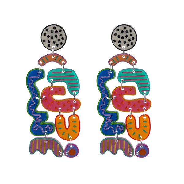 Remember Snakes & Ladders? These Puzzle Earrings are reminiscent of this board game. Multi-coloured with squiggle, dot and stripe artwork. Statement size measuring 9cm with a stud setting.