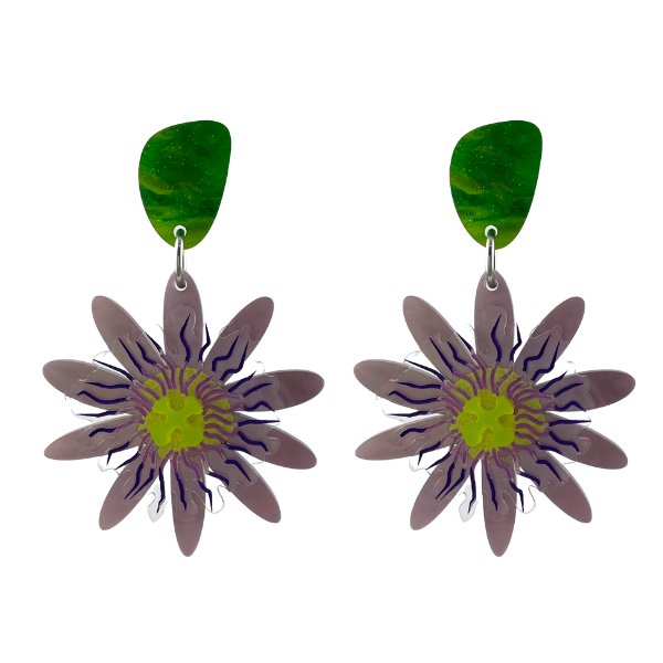 Exquisite delicate flower that transforms into delicious, tropical fruit is the inspiration for these Passion Flower earrings. Created from lightweight perspex, made in Australia.