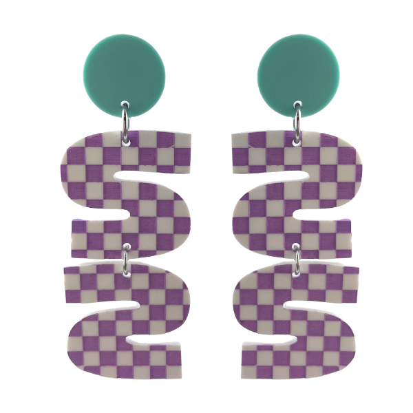 These Australian Made earrings are designed using an S letter and and inverted S letter. Using white and purple checkerboard perspex they have been trimmed with a sold aqua dot piece on top. Length 8.5cm. Stud setting.