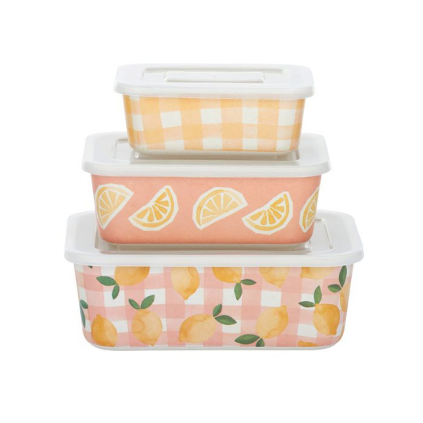 Lidded food storage containers with citrus and pink gingham pattern. Bamboo Fibre.