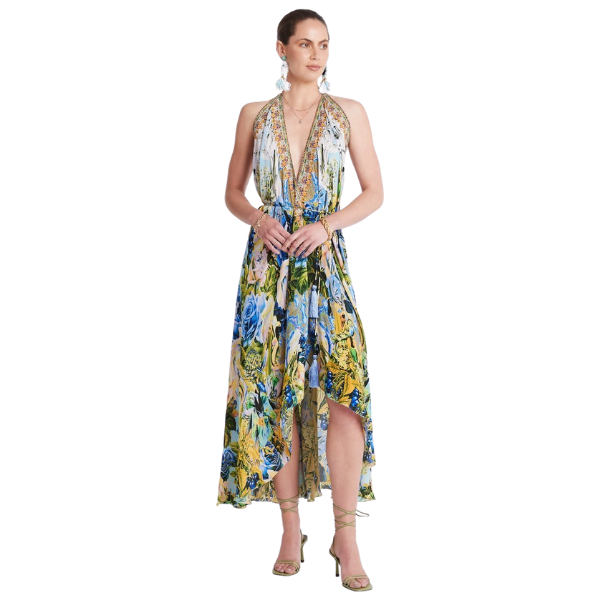 Simply stunning is an appropriate description of the Summer Blues 3 Way Dress! A simple and classic style than can be worn multiple ways depending on your mood: from a low cut v-neckline for a night out dancing or one-shoulder modest chic to luncheon engagements.