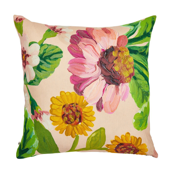 Original artwork by Bonnie features pink and yellow peonies, green leaves on a pale peach background. 60 x 60 cushion with feather inserts.