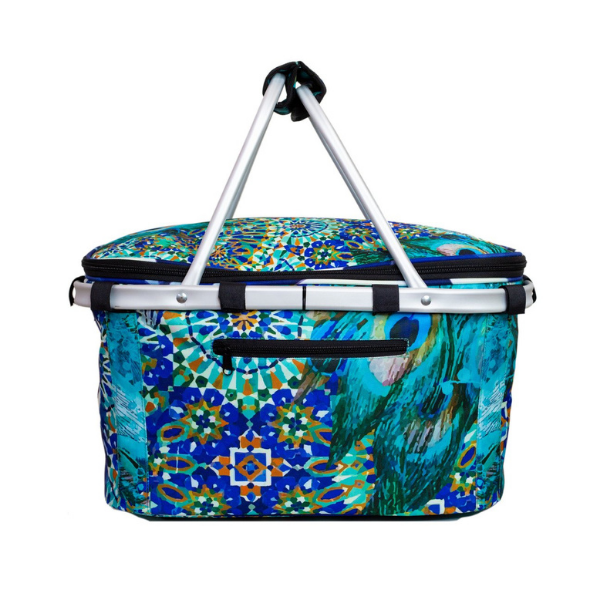 Vibrant turquoise and violet blue combine in a exotic tropical design. Insulated picnic basket with aluminium frame and handles, zip closure.